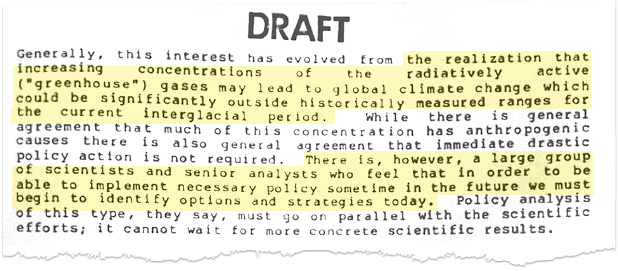 Reagan administration memo on growing concern about climate change. Image credit: Court records filed by the plaintiffs in <em>Juliana v. United States</em>