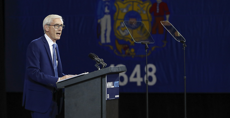 Wisconsin Governor-elect Tony Evers (D) speaks at a campaign event. Photo credit: KAMIL KRZACZYNSKI/UPI/Newscom
