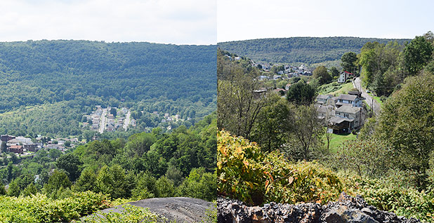 Before and after of coal refuse pile. Photo credit: Dylan Brown/E&E News