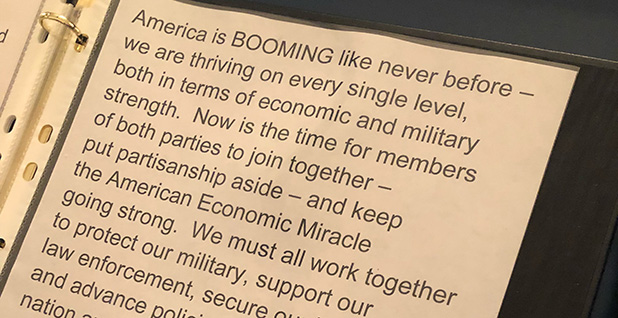 President Trump's notes from a press conference last week didn't include talking points about the environment. Photo credit: Scott Waldman/E&E News