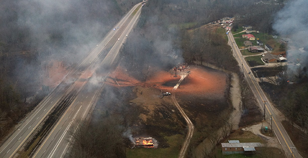 gas pipeline explosion in Sissonville, W.Va. Photo credit: West Virginia Aviation Division.