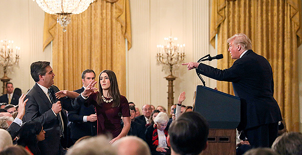 President Trump pointing at CNN correspondent Jim Acosta during a heated press conference earlier this month. Photo credit: Jonathan Ernst/REUTERS/Newscom