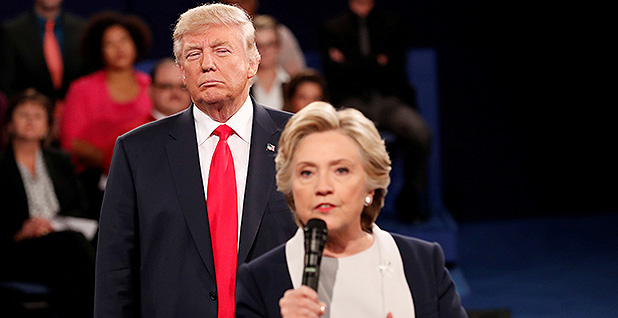 Donald Trump and Hillary Clinton at a town hall debate in St. Louis on Oct. 9, 2016. Photo credit: Rick Wilking/Reuters/Newscom