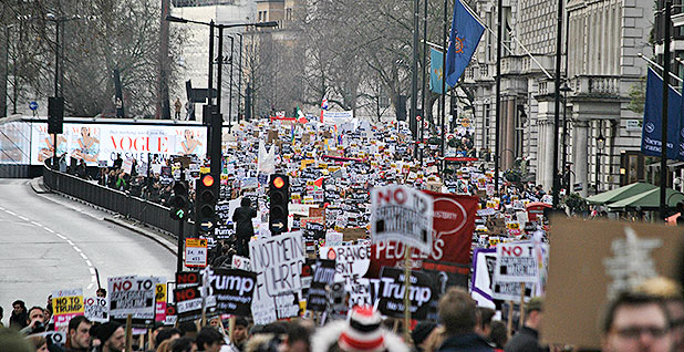 Londoners protesting Trump in February 2017. Photo credit: Loco Steve/Flickr