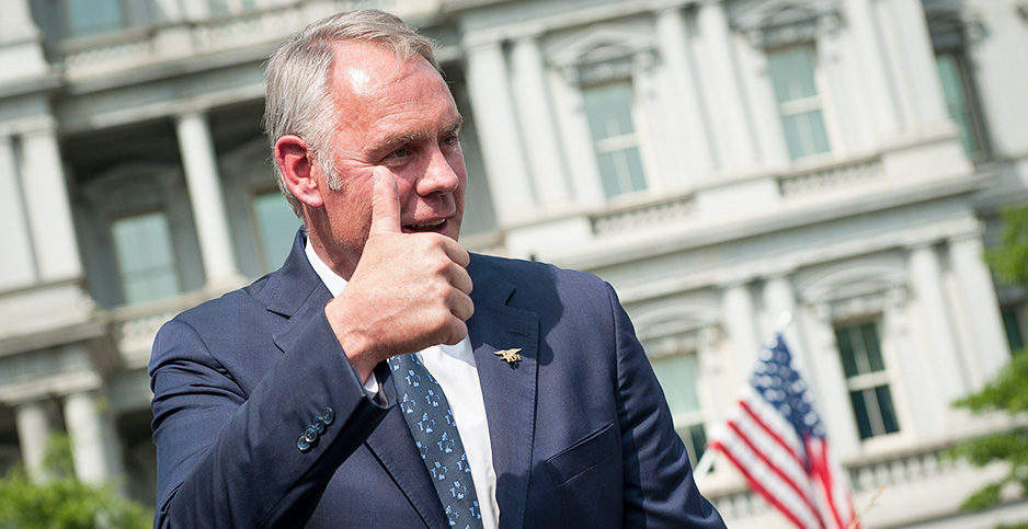 Ryan Zinke giving a thumbs up. Photo credit: Erin Scott/Polaris/Newscom