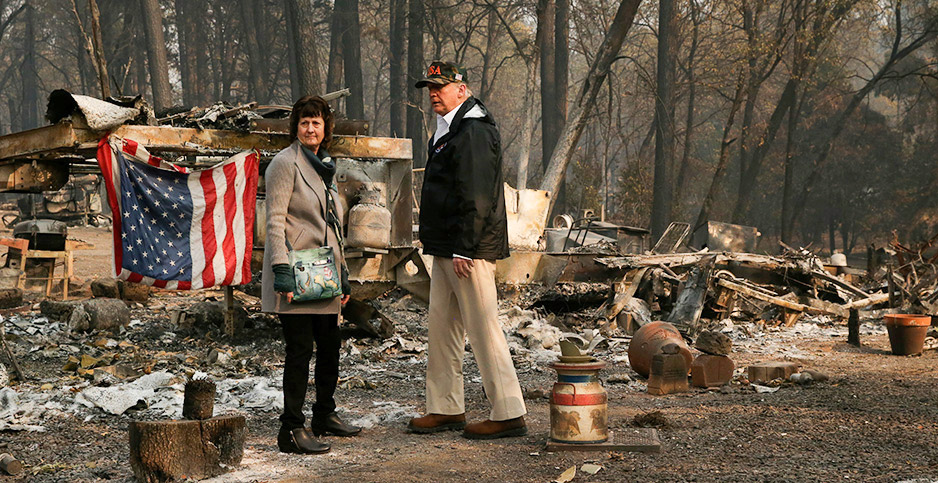 President Trump visits wildfire damage