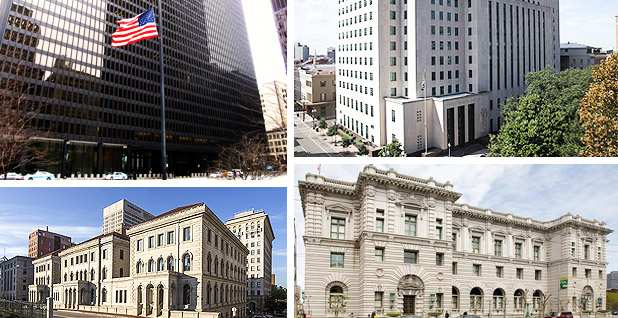 U.S. Courts of Appeal for the 7th, 5th, 9th and 4th circuits. Photo credit: Ken Lund/Flickr (7th Circuit); 5th Circuit; Library of Congress (9th Circuit); Acroterion/Wikipedia (4th Circuit)