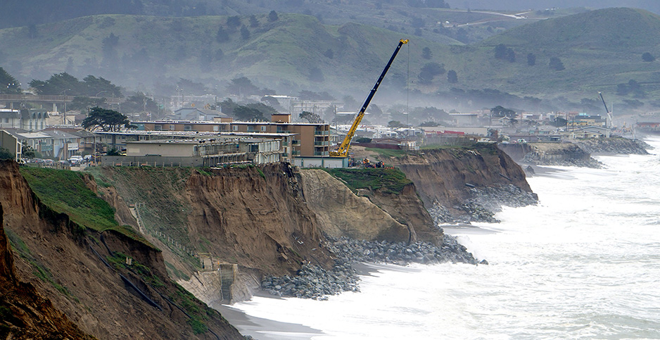 Demolition of homes is pictured in Pacifica, Calif. Photo credit: Splash News/Newscom