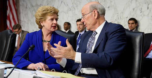 Sens. Debbie Stabenow (D-Mich.) and Pat Roberts (R-Kan.). Photo credit: Senate Agriculture Committee/Facebook