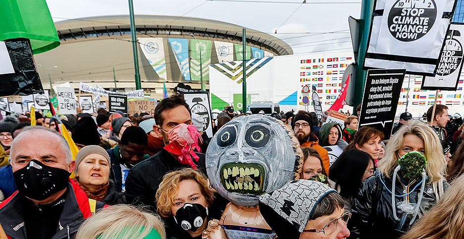 Activists marching in Katowice, Poland. Photo credit:Dominika Zarzycka/NurPhoto/Sipa/Newscom