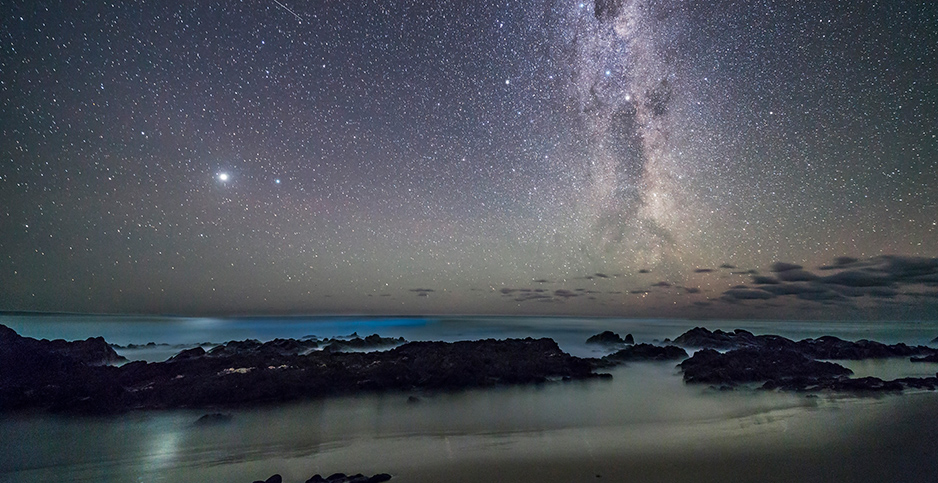 The Southern Milky Way is seen over the Tasman Sea. Photo credit: Alan Dyer / VWPics/Newscom