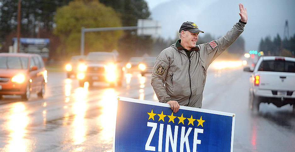 Zinke campaigning in Whitefish. Photo credit: Brenda Ahearn/The Daily Inter Lake/Associated Press