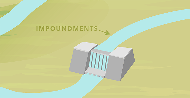 Dam impoundment illustration WOTUS. Graphic credit: Claudine Hellmuth/E&E News