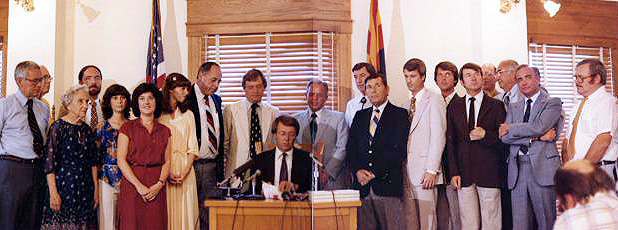 Bruce Babbitt signing Arizona Groundwater Management Act of 1980. Photo credit: Arizona Municipal Water Users Association