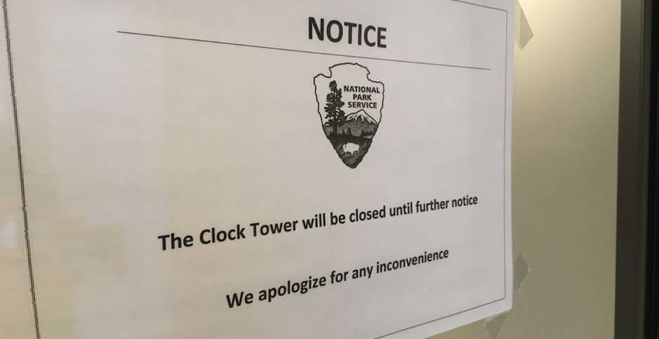 Old Post Office Clock Tower shutdown sign. Photo credit: Courtney Columbus/E&E News