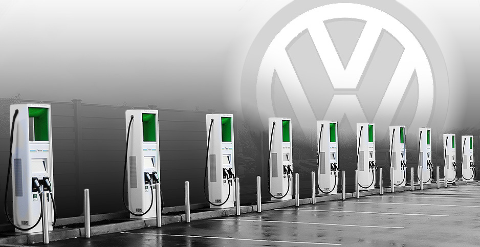 Photo illustration with VW logo and electric chargers. Photo credit: Claudine Hellmuth/E&E News(illustration); Electrify America(chargers) Brands of the World(VW logo)