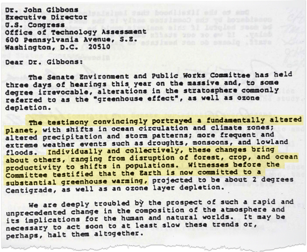 1986 letter to U.S. senators Dr. John Gibbons, director of the Office of Technology Assessment. Photo credit: Court records filed by the plaintiffs in Juliana v. United States