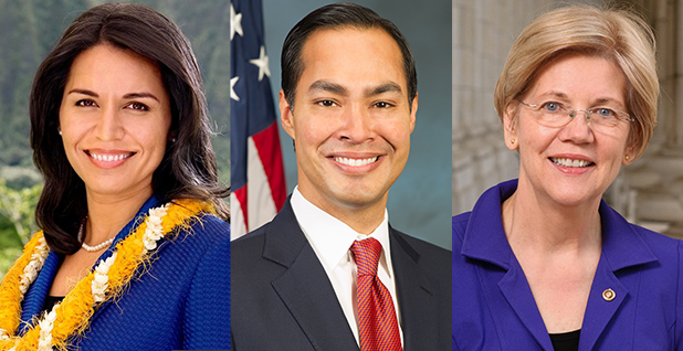 Tulsi Gabbard, Julian Castro, Elizabeth Warren. Photo credit: U.S. House/Wikipedia (Gabbard); Department of Housing and Urban Development/Wikipedia (Castro); U.S. Senate/Wikipedia (Warren).