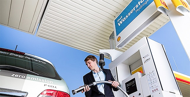 Man fueling a hydrogen vehicle in Germany. Photo credit:Shell Global