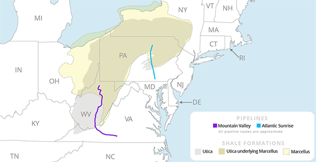 Atlantic Sunrise and Mountain Valley pipelines with shale formations map. Map credit: Claudine Hellmuth/E&E News