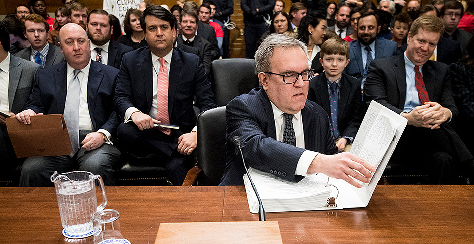 Andrew Wheeler at confirmation hearing. Photo credit: Bill Clark/CQ Roll Call/Newscom