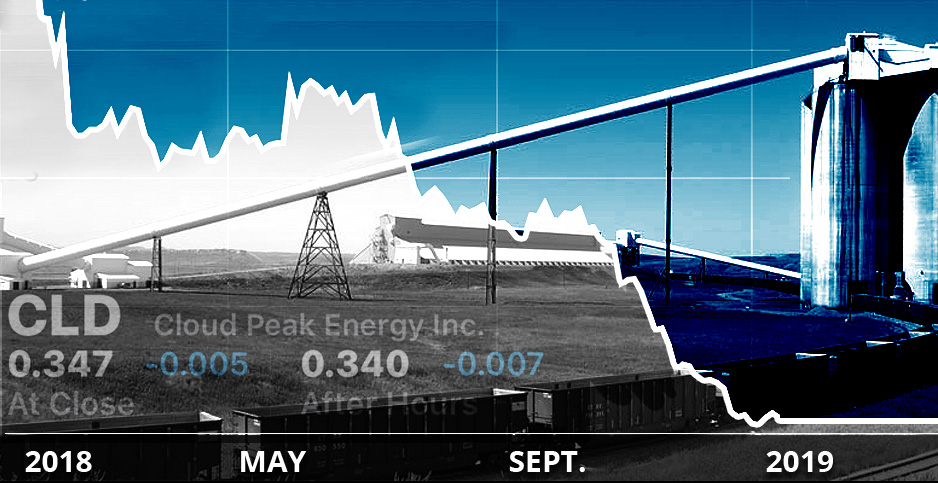 Photo illustration of Cloud Peak Energy with stock market chart overlay. Photo credits: Claudine Hellmuth/E&E News(illustration);  Cloud Peak Energy(photo); Stocks App (CLD trend chart)