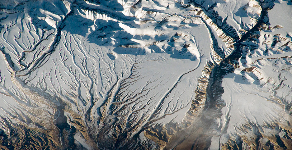 Glaciers in the Hindu Kush mountain range. Photo credit: NASA