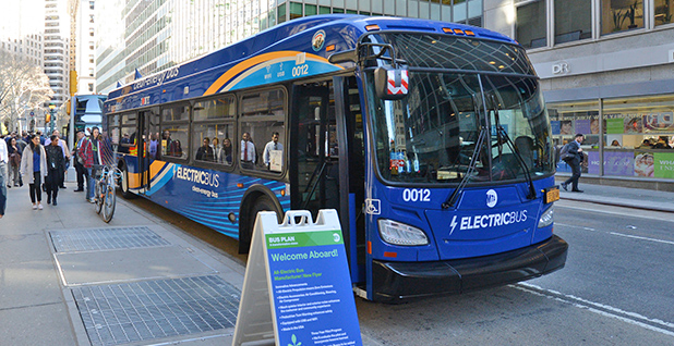 An electric bus on display in New York City in April 2018. Photo credit: Metropolitan Transportation Authority of the State of New York.