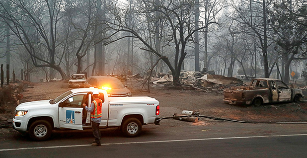 PG&E truck at Camp Fire. Photo credit: Terray Sylvester/Reuters/Newscom