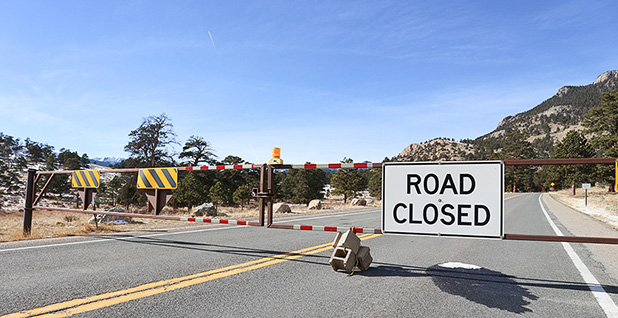 Road closed sign. Photo credit: Jennifer Yachnin/E&E News