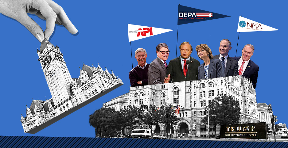 Trump hotel. Image credits: Claudine Hellmuth/E&E News(illustration);drpavloff/Flickr(Trump hotel); Freepik(hand); Alejandro Pena/U.S. Air Force(Murkowski) Gage Skidmore/Flickr(Perry, Zinke, Pruitt); Voice of America(Hamm)