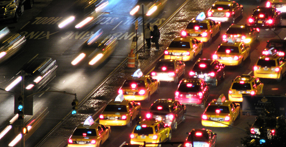 Heavy traffic is pictured in New York City at night. Photo credit: Marcus Vinicius Silva/Flickr
