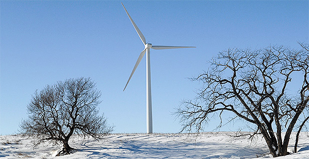 Wind turbine in snow. Photo credit: NextEra Energy Resources