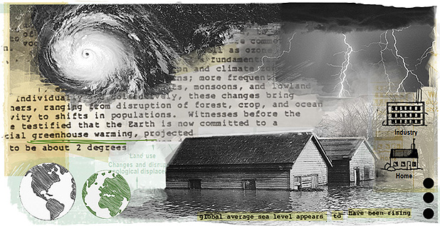 Climate change illustration. Image credit: Claudine Hellmuth(illustration); Court records filed by the plaintiffs in Juliana v. United States (documents); Freepik(globes); Library of Congress (houses and lightning photos); NOAA (hurricane)