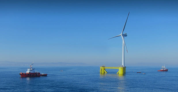 Principle Power (operator of shown turbine) is proposing a floating offshore wind project in California. Photo credit: Principle Power, Inc.