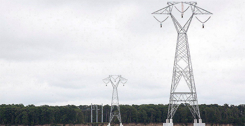 Transmission towers in James River. Photo credit: Dominion Energy