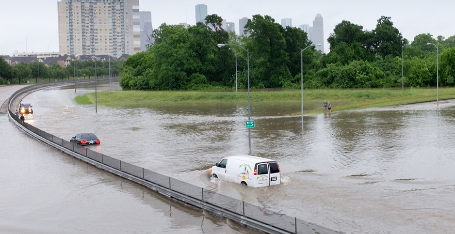 A road in Houston is flooded during record-rainfall in 2016. Photo credit: NOAA