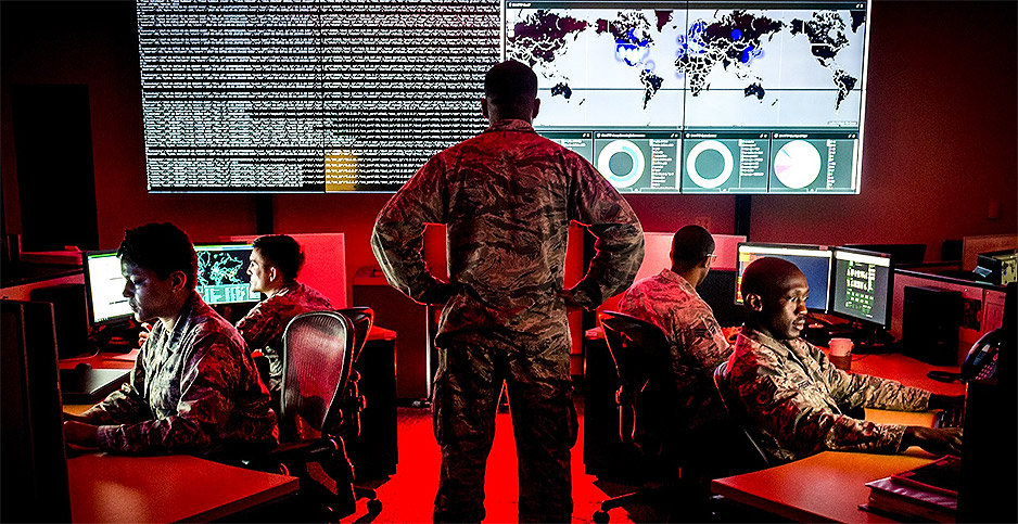 Cyber warfare specialists serving with the Maryland Air National Guard getting training. Photo credit: J.M. Eddins Jr./U.S. Air Force