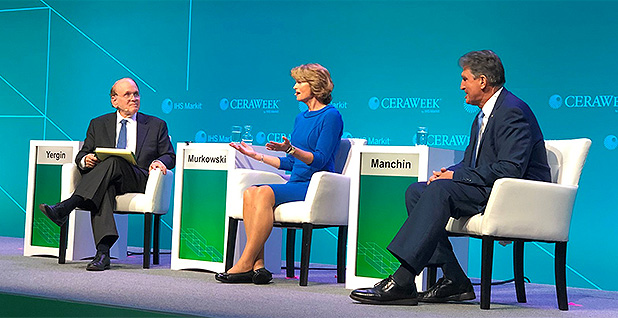 Senate Energy and Natural Resources Chairwoman Lisa Murkowski (R-Alaska) and ranking member Joe Manchin (D-W. Va.). Photo credit: @CERAWeek/Twitter