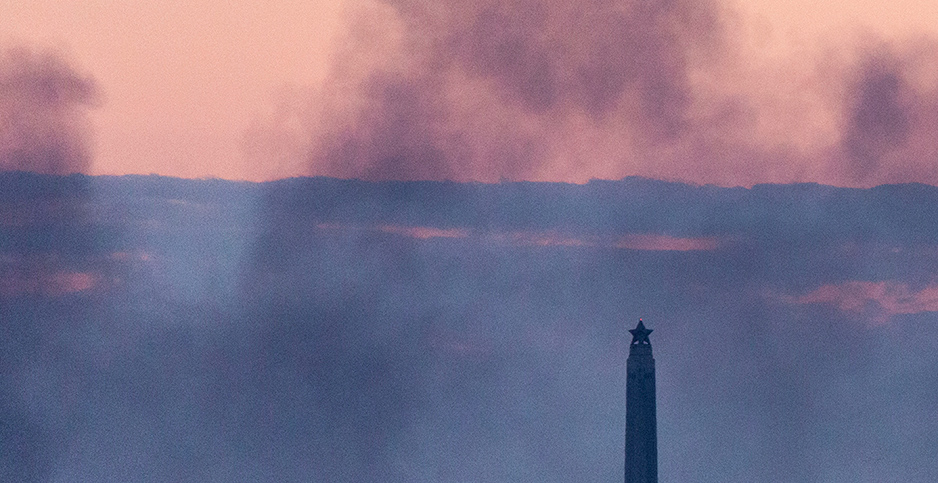 Deer Park fire and San Jacinto Monument. Photo credit: F. Carter Smith/Polaris/Newscom