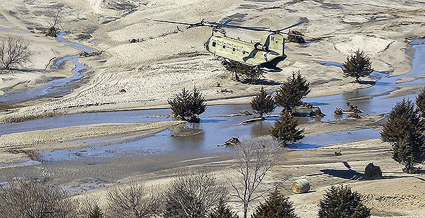 Hay bales being dropped for cows stranded by flooding. Photo credit: Lisa Crawford/ZUMA Press/Newscom