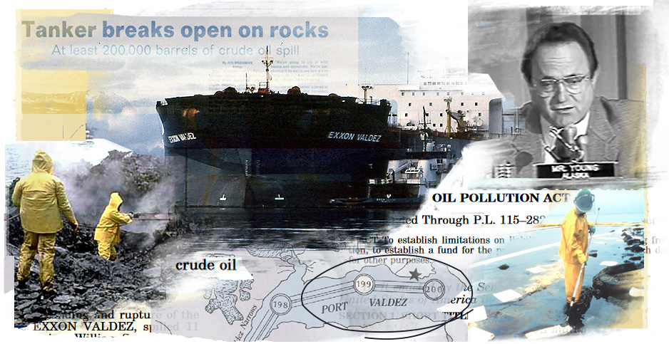 Exxon Valdez photo illustration. Photo credit: Claudine Hellmuth/E&E News(illustration) Alaska Resources Library and Information Service(documents); NOAA(Valdez and clean up photos) C-SPAN(Don Young)