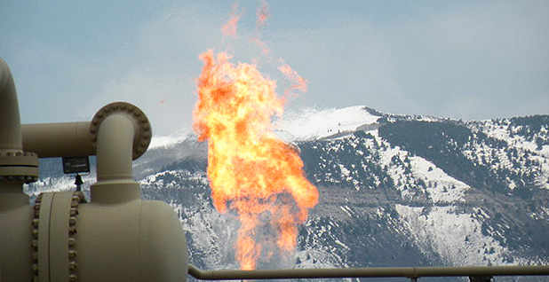 Methane is flared at a natural gas refinery in the Piceance Basin of Colorado. Photo credit: Tim Hurst/Flickr