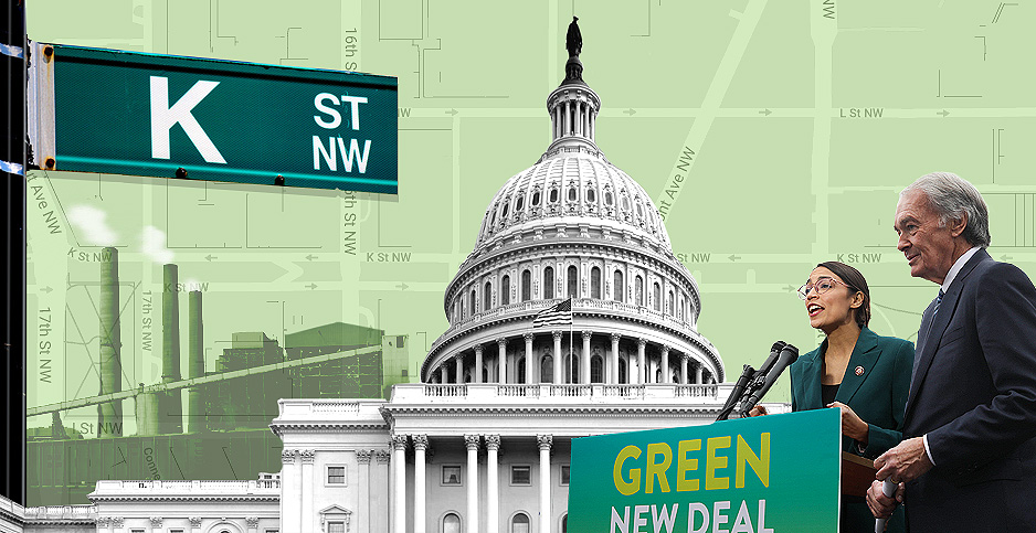 Green New Deal lobbying illustration. Claudine Hellmuth/E&E News(illustration); Glyn Lowe PhotoWorks/Flickr(K Street sign); Senate Democrats/Flickr(Cortez and Markey); Roy Luck/Flickr(power plant); Architect of the Capitol/Flickr(Capitol)