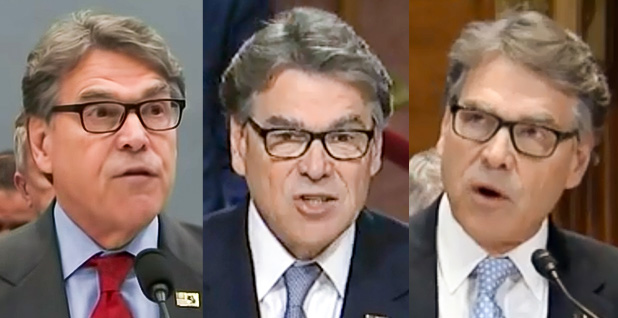 Rick Perry. Photo credit: House Appropriations Committee (left); Senate Armed Services Committee (middle); Senate Appropriations Committee (right).