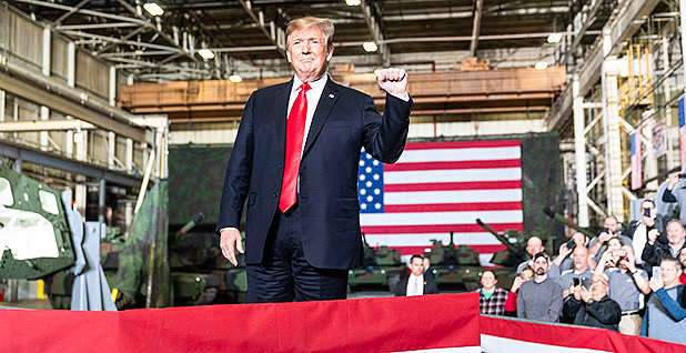 President Trump pictured at an Army tank plant in Lima, Ohio. Photo credit: Shealah Craighead/Official White House