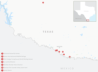 Border wall locator map Texas. Map credits: Claudine Hellmuth/E&E News; Snazzy maps/© 2019 Google (base map)