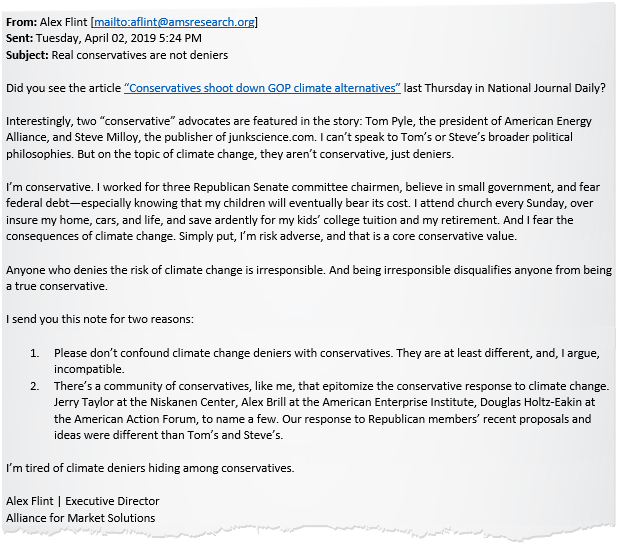Alex Flint email subject line: Real conservatives are not deniers.
