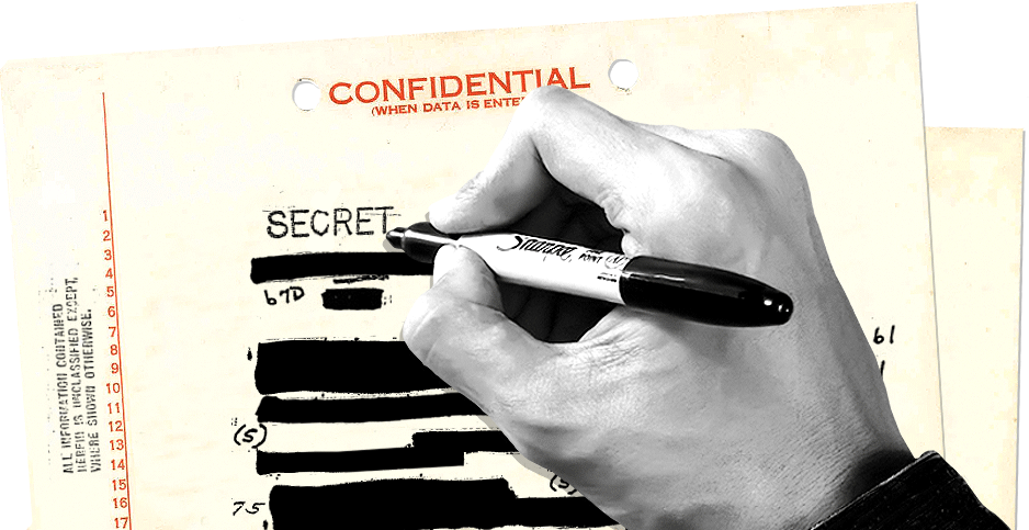 Photo illustration of hand marking up classified redacted documents. Credits:  Claudine Hellmuth/E&E News (illustration); National Archives (letterhead); FBI/Wikipedia(redactions); unclelkt/Pixabay (hand)