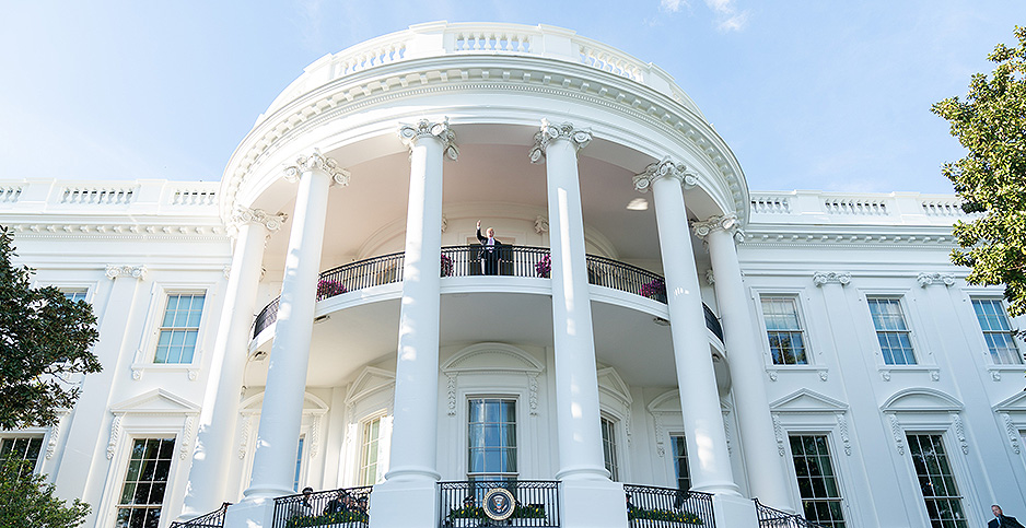 President Trump waving from the balcony of the White House earlier this week. Credit: Shealah Craighead/White House/Flickr